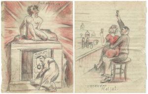 Päiväkirjasta löytyy esimerkiksi uskoa ja naisia käsitteleviä piirroksia.