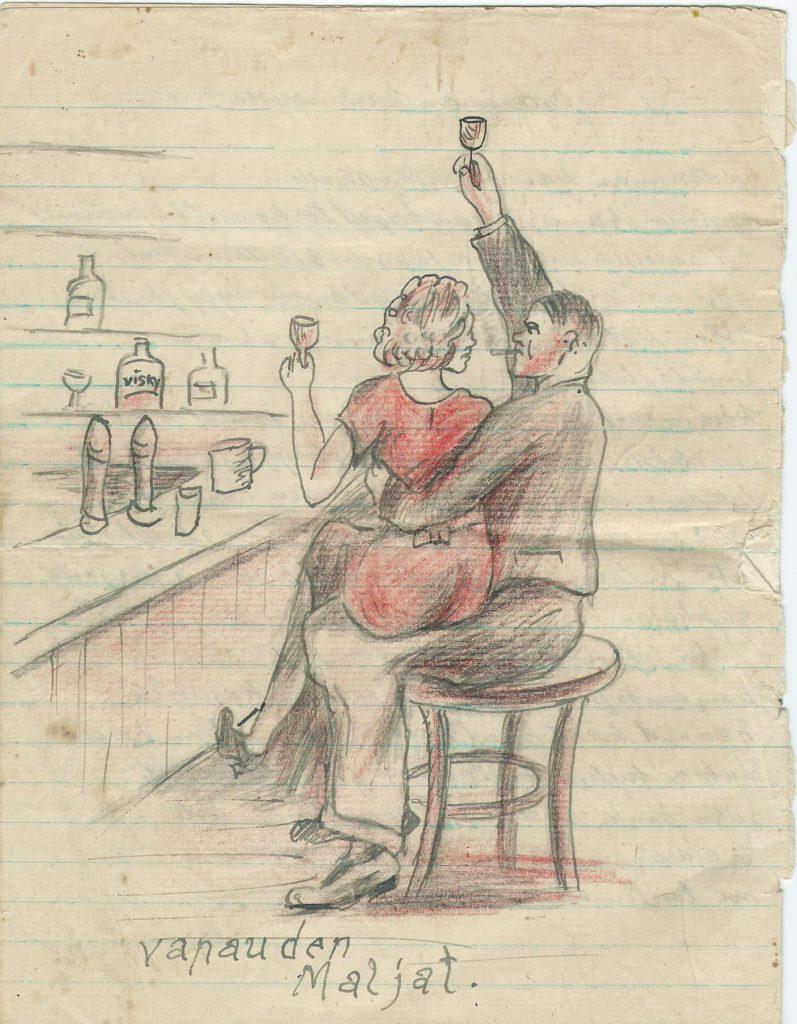 """""""Vapauden maljat"""". Kuvassa naiskaunotar istuu baarissa miehen sylissä."""