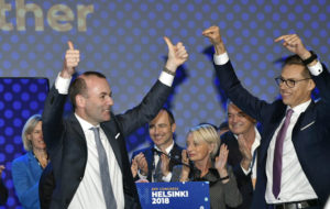LKS 20181108 The lead candidates of the EPP, Manfred Weber of Germany and Alexander Stubb of Finland (R) gesture after the results of the EPP lead candidate voting at the session of the European People's Party (EPP) congress in Helsinki, Finland, on November 8, 2018. EPP chose Weber to be the lead candidate, the 'spitzenkandidat' for the 2019 European elections, at the congress on Thursday.