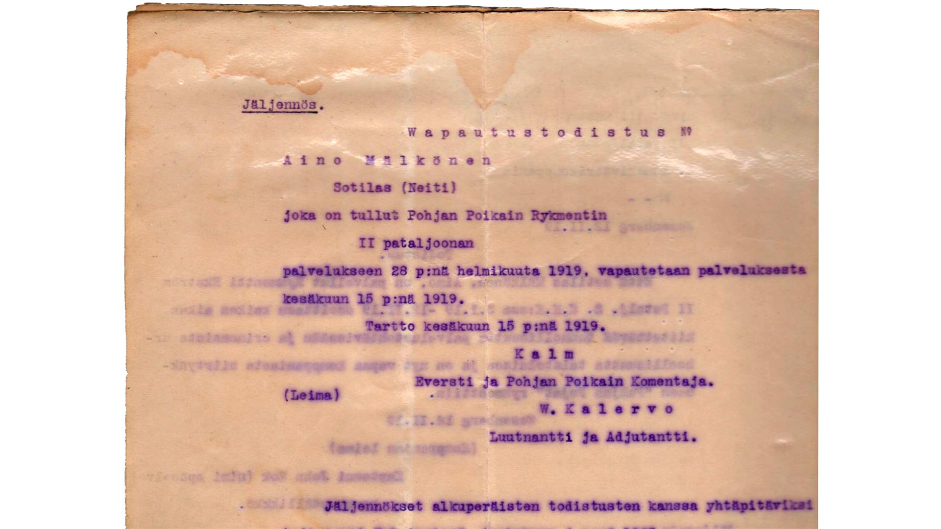 Aino Mälkösen sotilaskantakirja