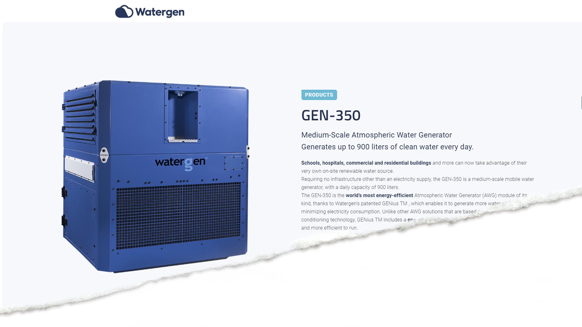 Watergen GEN-350 on keskikokoinen vedenvalmistaja ja tekee parhaimmillaan 900 litraa puhdasta vettä päivässä.