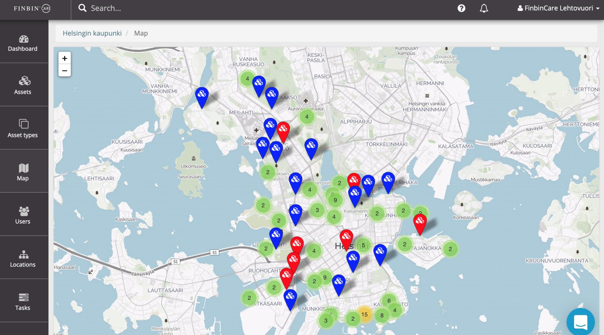 Älytunnisteilla varustetut jäteastiat näkyvät FinBinCare-järjestelmän kartalla