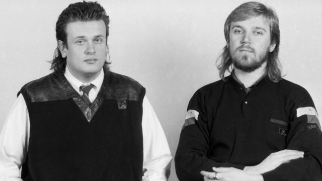 """Toimintaelokuvan """"Born American"""" eli """"Jäätävä polte"""" tekijät, käsikirjoittaja Markus Selin (vas) ja ohjaaja ja käsikirjoittaja Renny Harlin joulukuussa 1985."""