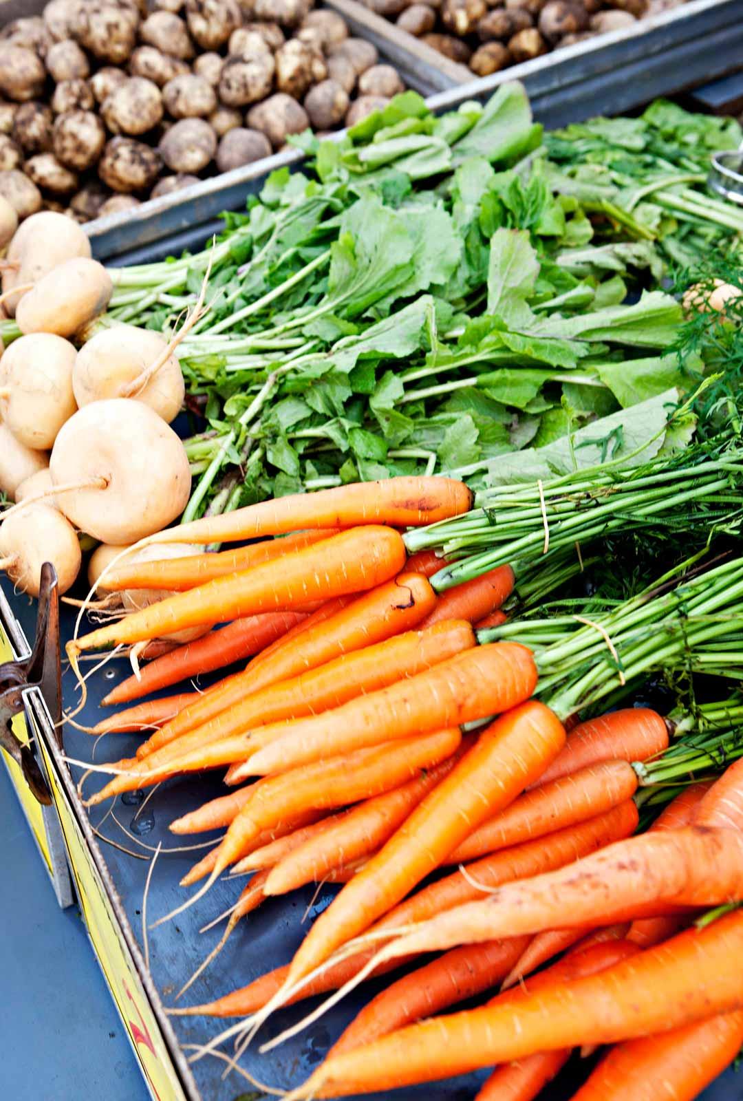 Porkkanoita ja muita kasviksia ja juureksia