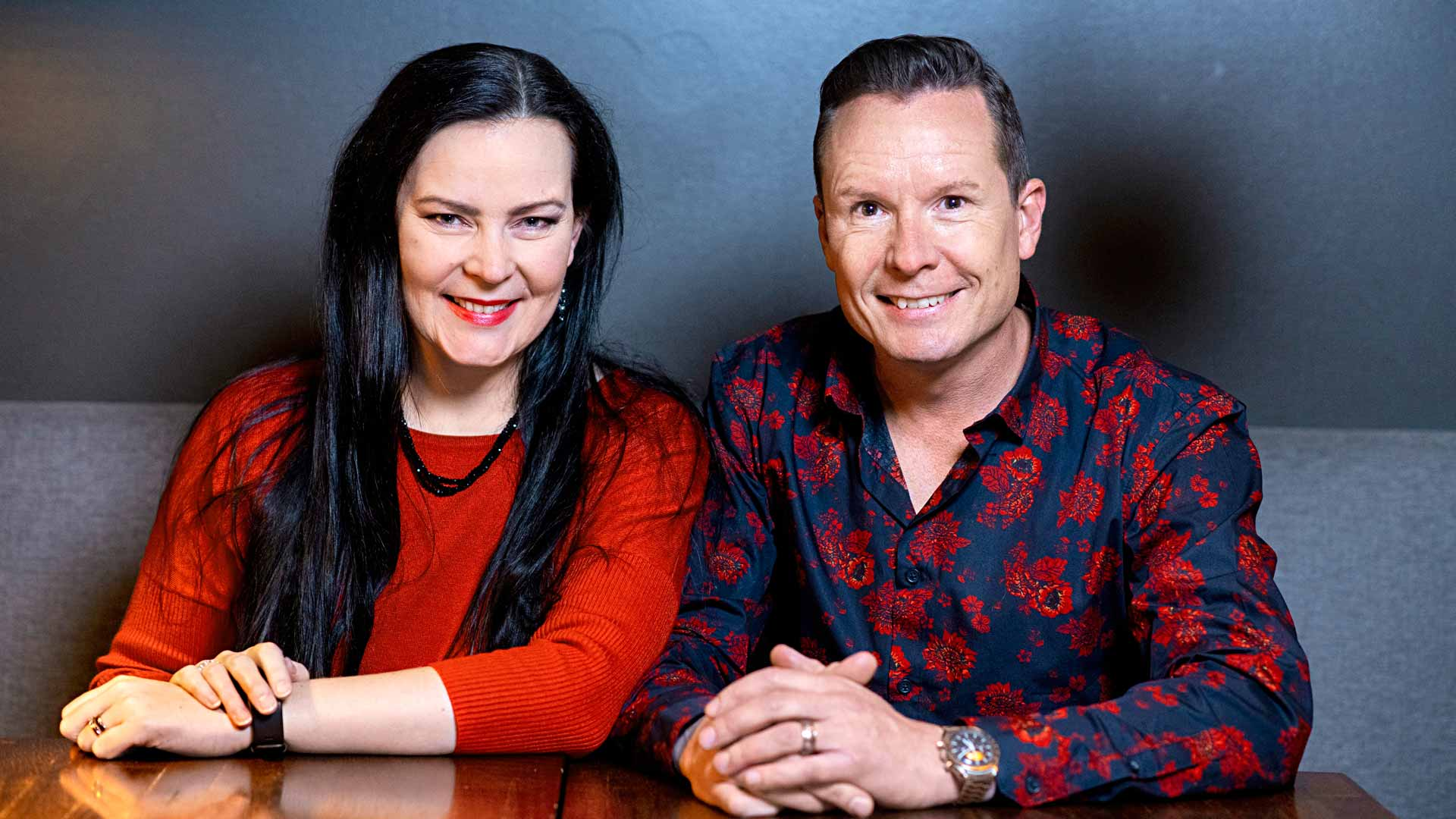 Tomi ja Annina Tuominen löysivät toisensa vuonna 2016. Kulissina oli Lohjan teatteri ja kulissina My Fair Lady -musikaali. Sampo Korhonen / Otavamedia