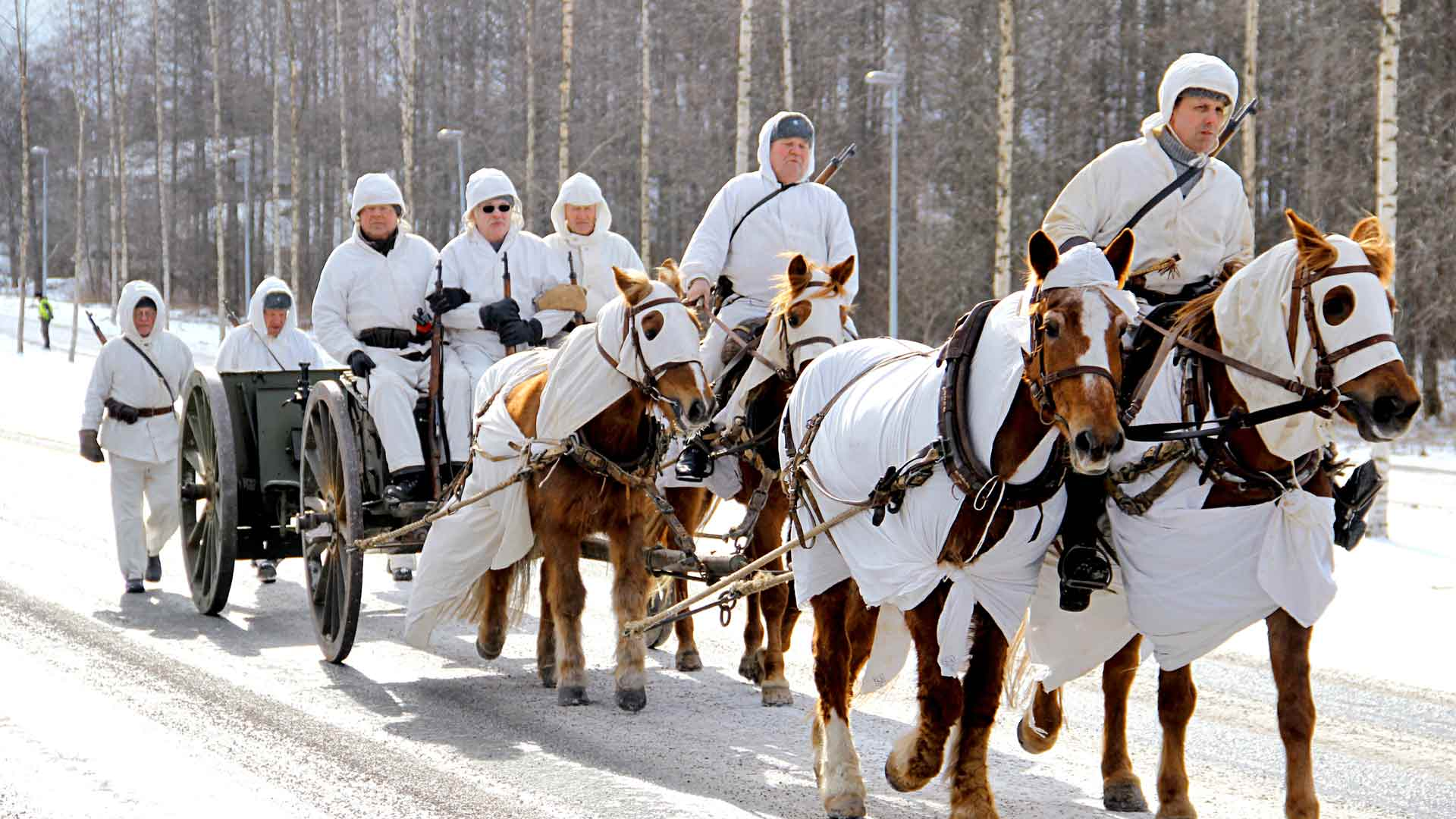 Perinnevaljakon hevoset voidaan pukea myös sodanajan mallin mukaan lumipukuun.