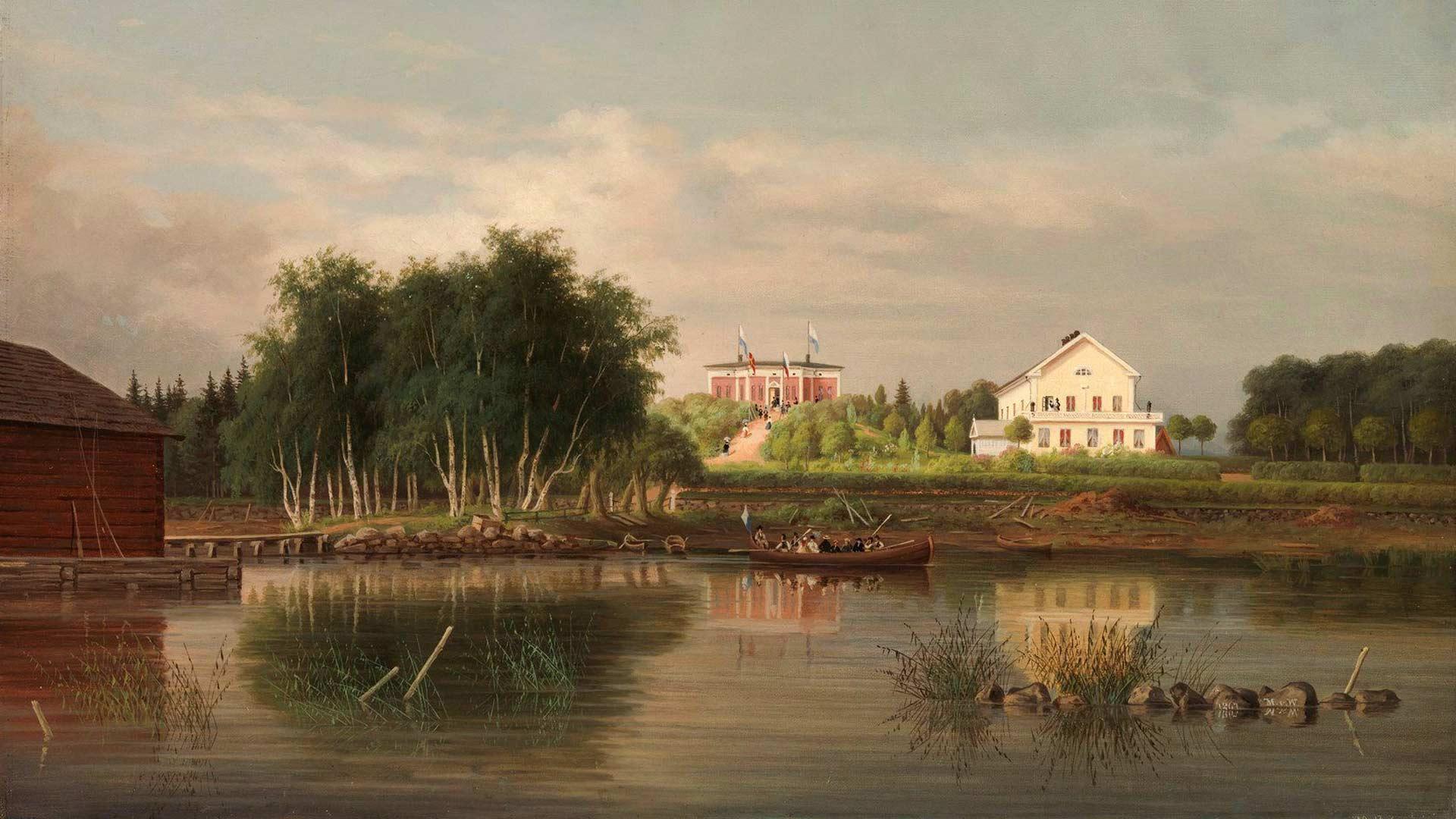 Honkolan kartano Magnus von Wrightin maalaamana.