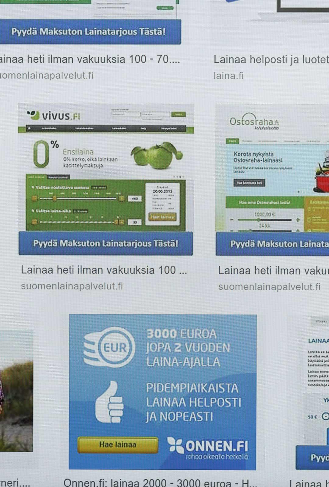 Lainatarjouksia, kuvakaappaus. Kuva: Ismo Pekkarinen / Lehtikuva
