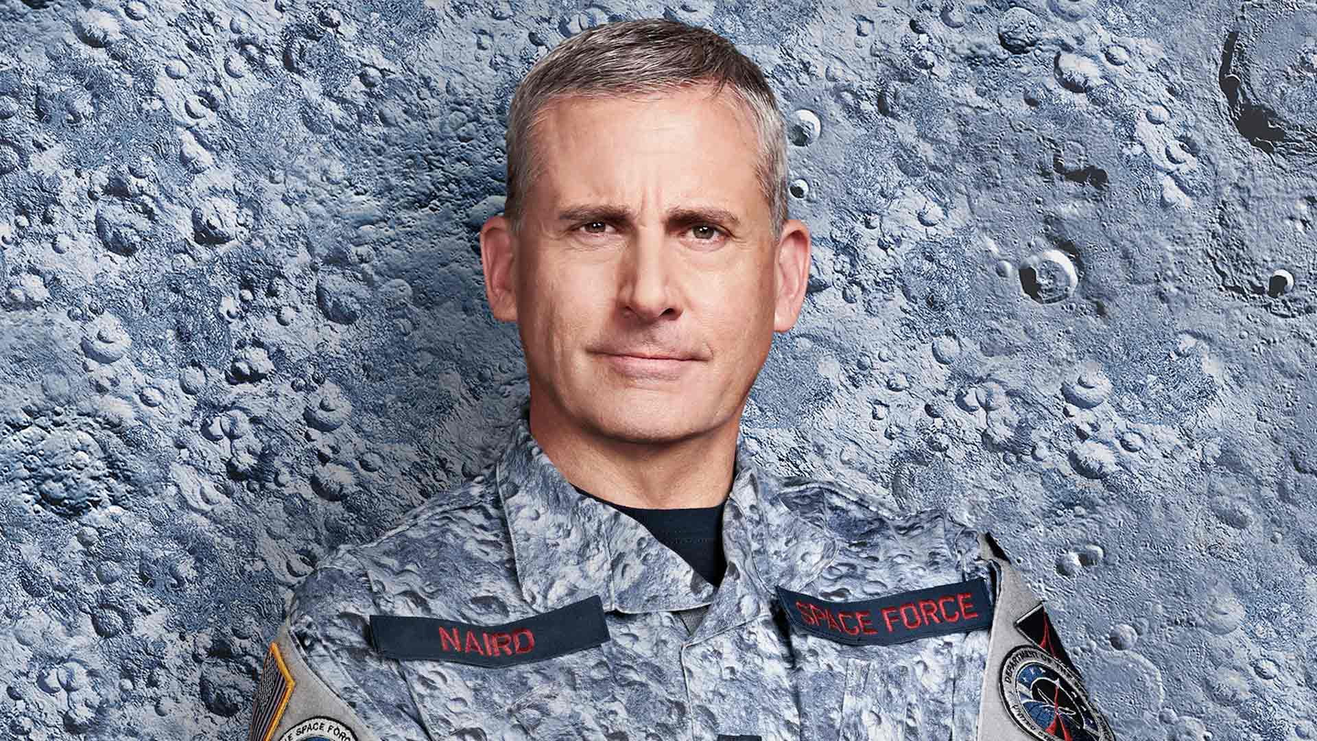 Koomikko Steve Carell komediasarjassa Space Force.
