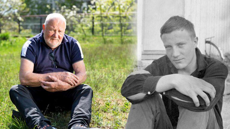 Veli Hyvärinen, 80, kotipihallaan Helsingissä. Eläkepäivät kuluvat joutuisasti kirjoitustöiden parissa. Pitkien suhteiden mies on ollut lähes kaksi vuosikymmentä yhdessä nykyisen, alle kuusikymppisen kumppaninsa kanssa.Nuori Veli Hyvärinen kotipihallaan Leppävirralla 1960-luvun alkupuoliskolla.