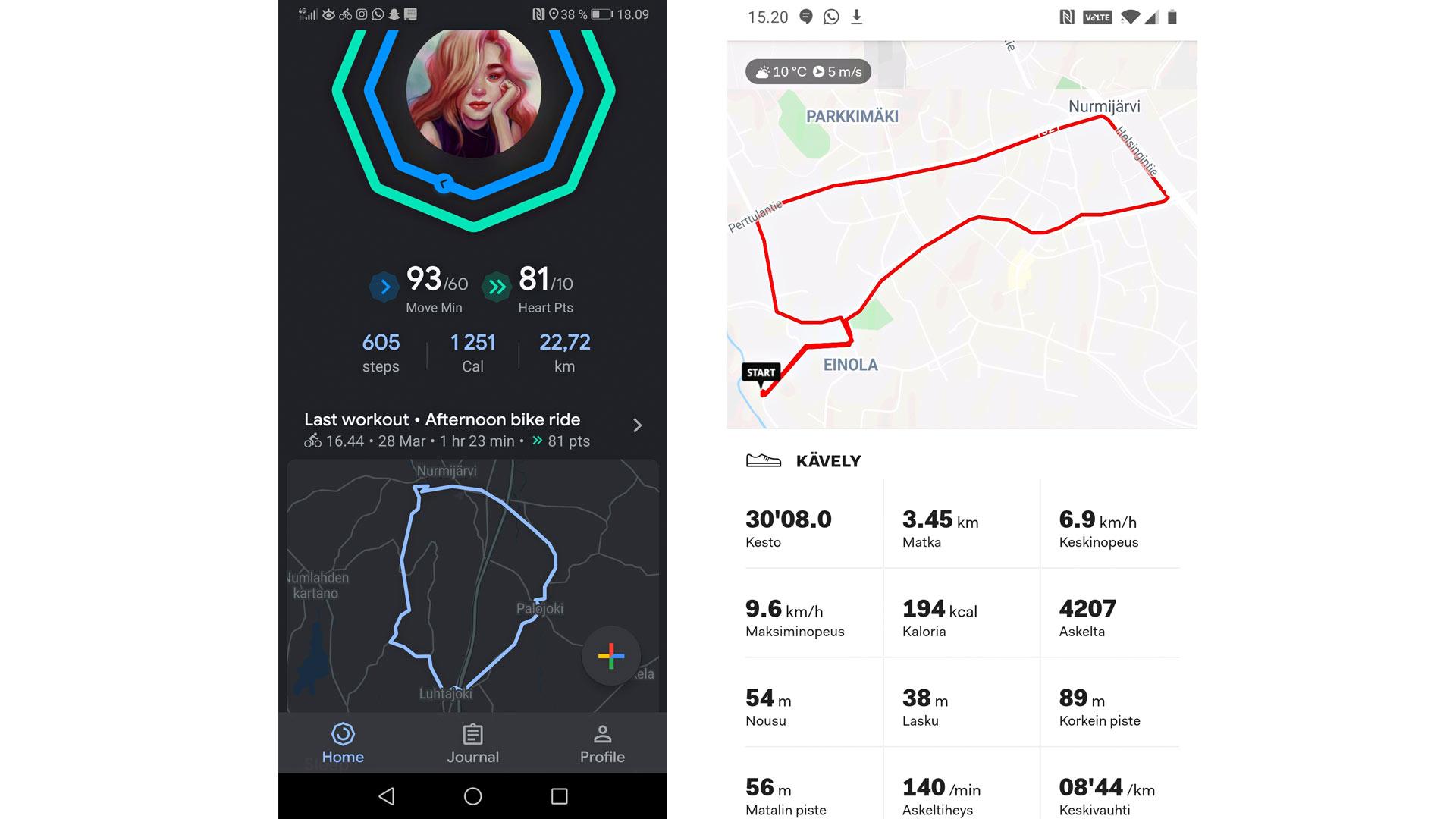Google Fit ja Sports Tracker.