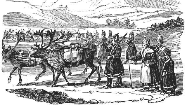 Puukaiverrus Poronlauma vuodelta 1882 kuvaa, miten saamelaiset käyttivät poroja apuna kuljettamaan ruokaa, vaatteita ja työkaluja.