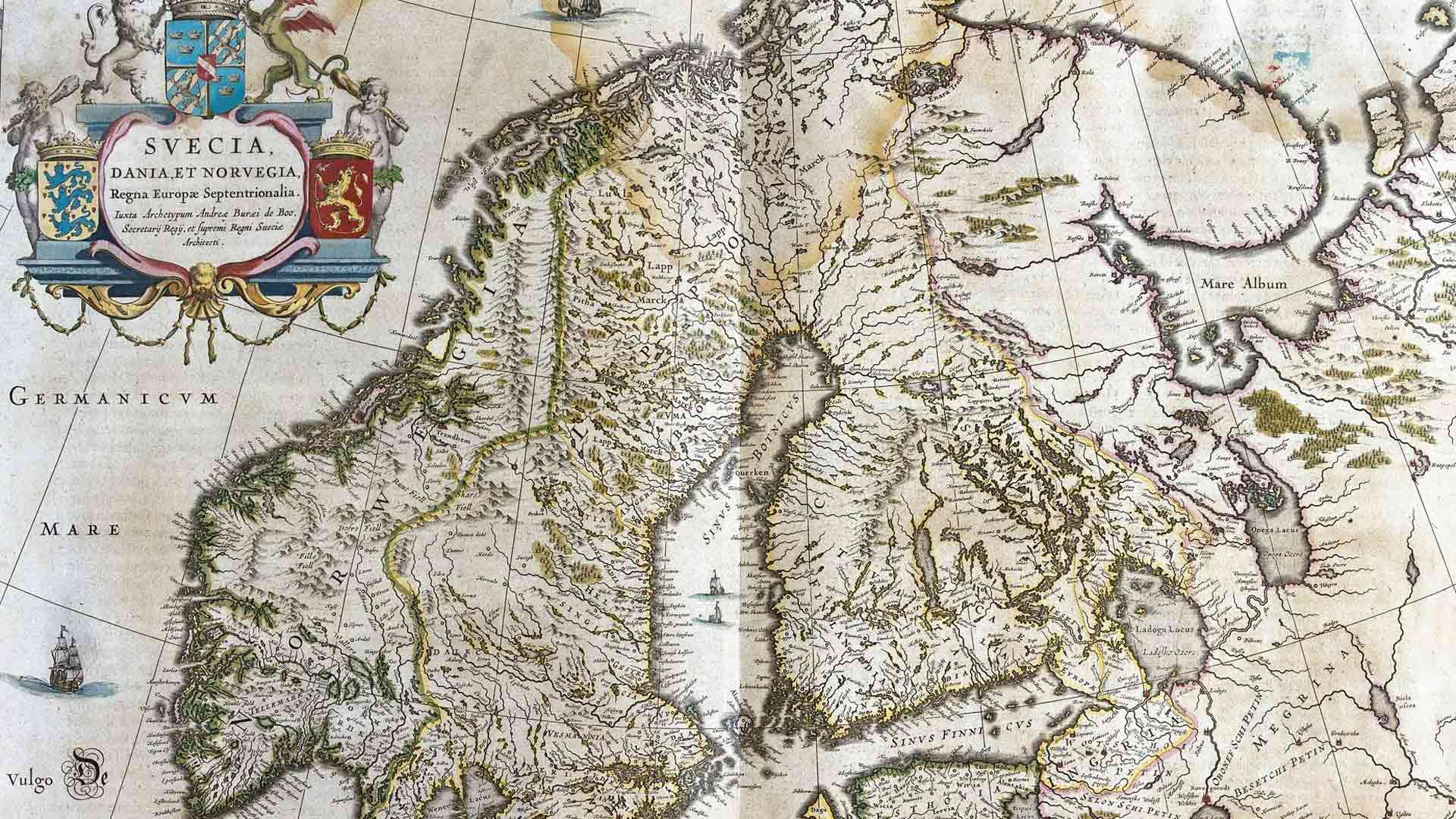 Willem Blaeun tekemä karttakirja näyttää, miltä Pohjolan alue näytti vuosina 1645–50.