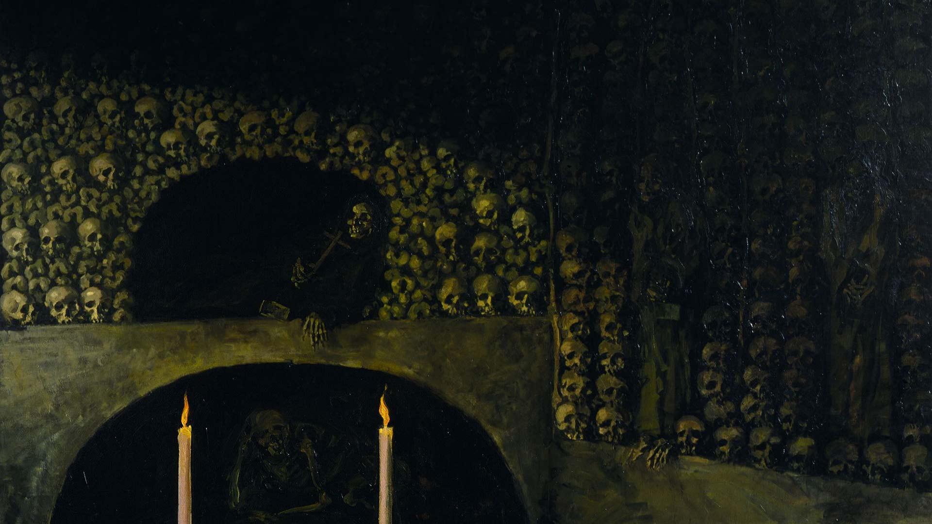 Oscar Parviaisen maalaus Kapusiinimunkkien hautakammio (1914) on lainassa Villa Gyllenbergin näyttelyssä Joensuun taidemuseolta. Parviaisen tuotanto on monin paikoin synkkää ja hän on käsitellyt teoksissaan muun muassa maailmanloppua.
