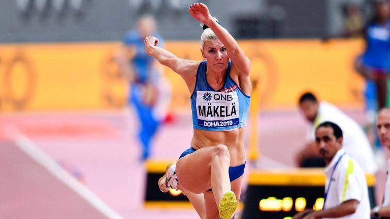 Yleisurheilun GP, kuvassaKristiina Mäkelä, urheilutärpit.