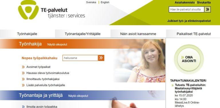 Erikoinen työpaikkailmoitus oli nähtävillä vielä viikonloppuna TE-palveluiden verkkosivuilla. Nyt ilmoitus on poistettu.
