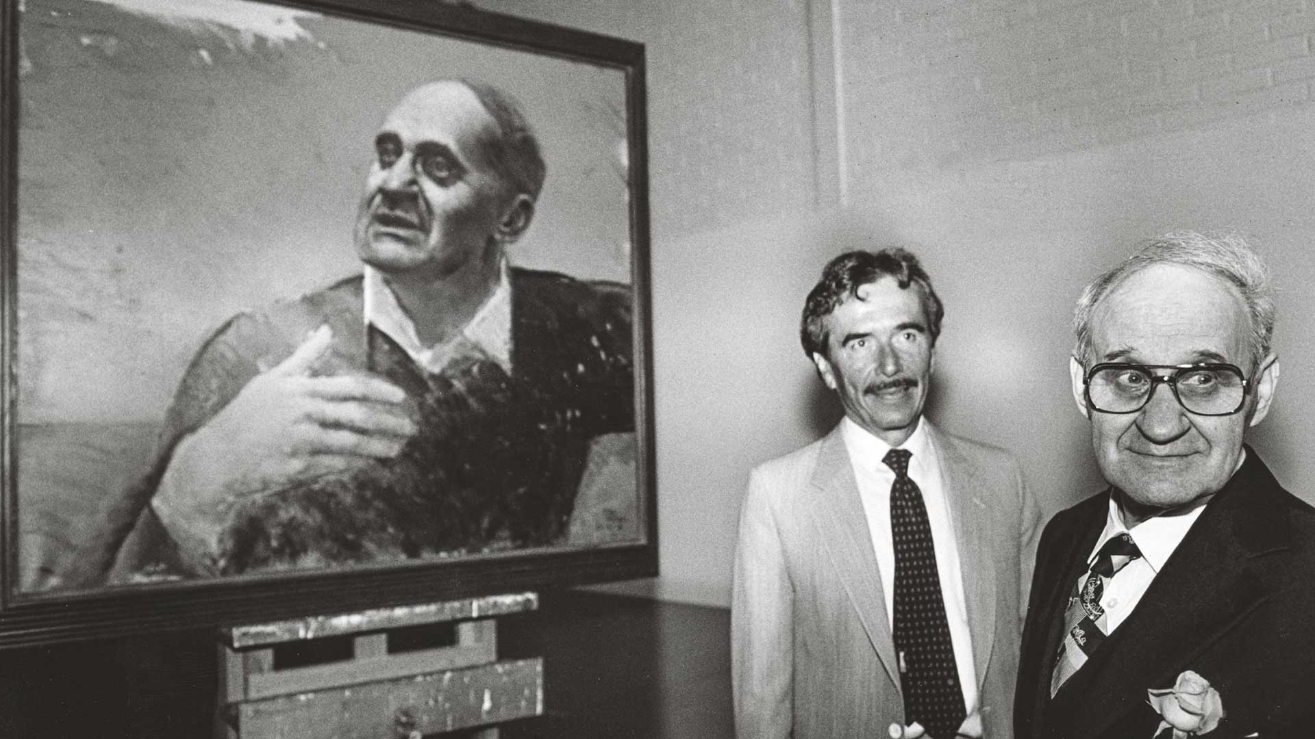 Taiteilija Kimmo Kaivanto maalasi Väinö Linnan muotokuvan vuonna 1987.