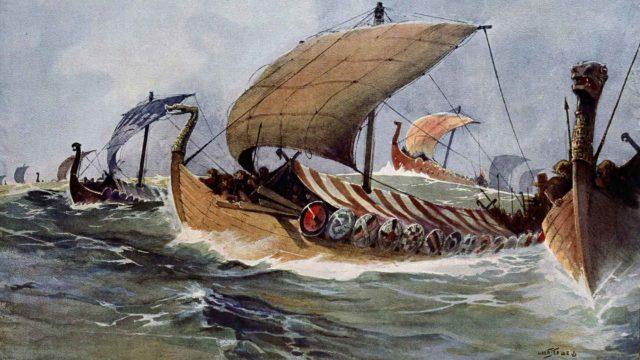 Viikinkien hurjaa menoa kuvasi taiteilija Albert Sebille vesivärityössään 1900-luvun alussa.