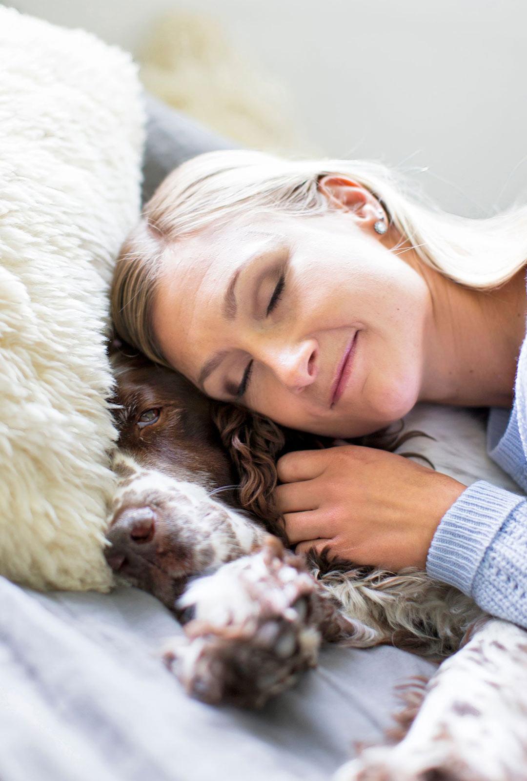 """Englanninspringerspanieli Allulla on ikää jo 13 vuotta. """"Allu on sellainen koko perheen lempeä seniorikoira ja uskollinen eläinkaveri"""", Teresa kertoo."""