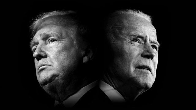 Ulkolinja: Trump vastaan Biden.