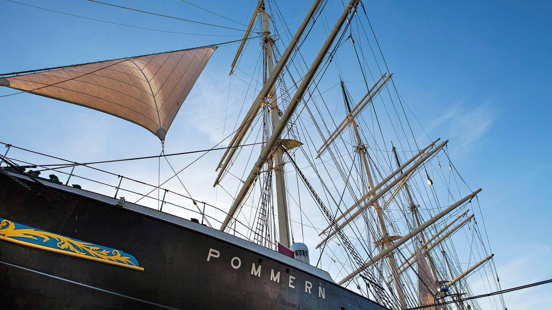Merenkulkumuseon helmi on Pommern-laiva, jota voi talviaikaa ihailla ulkoa. Sisään pääsee taas keväällä.