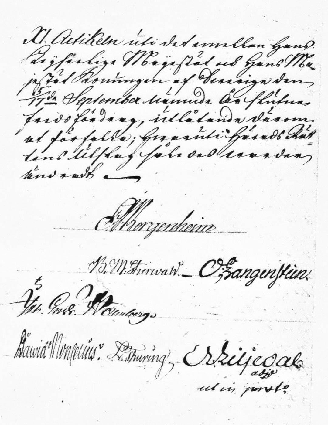 """Viimeinen sivu Vaasan hovioikeuden päätöksestä, jolla 18. joulukuuta 1813 ratkaistiin ruukinpatruuna F. J. Ekholmin murhaajiksi epäiltyjen Olli Tuovisen ja Sakari Antinpoika Pasasen syyllisyys. Hovioikeus totesi, että vaikka miehiä vastaan oli enemmän kuin puoli näyttöä, niin todistajien sekä tunnustuksen puuttuessa asia oli jätettävä tulevaisuuteen, aikakauden lakisuomella """"tulewaan aicaan, cosca se taita ilmaandua""""."""