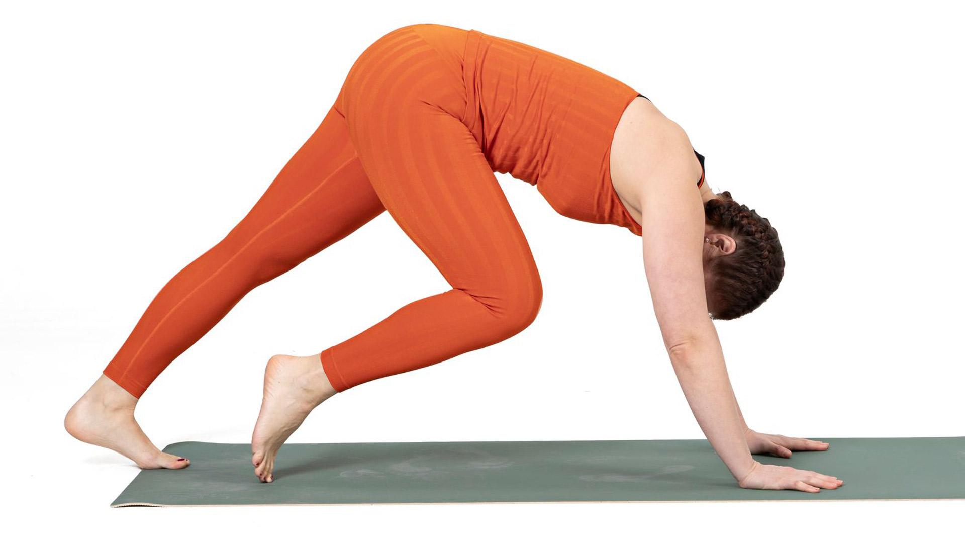 Työnnä käsillä polvet irti lattiasta, kantapäitä lattiaan ja peppu kattoa kohti.