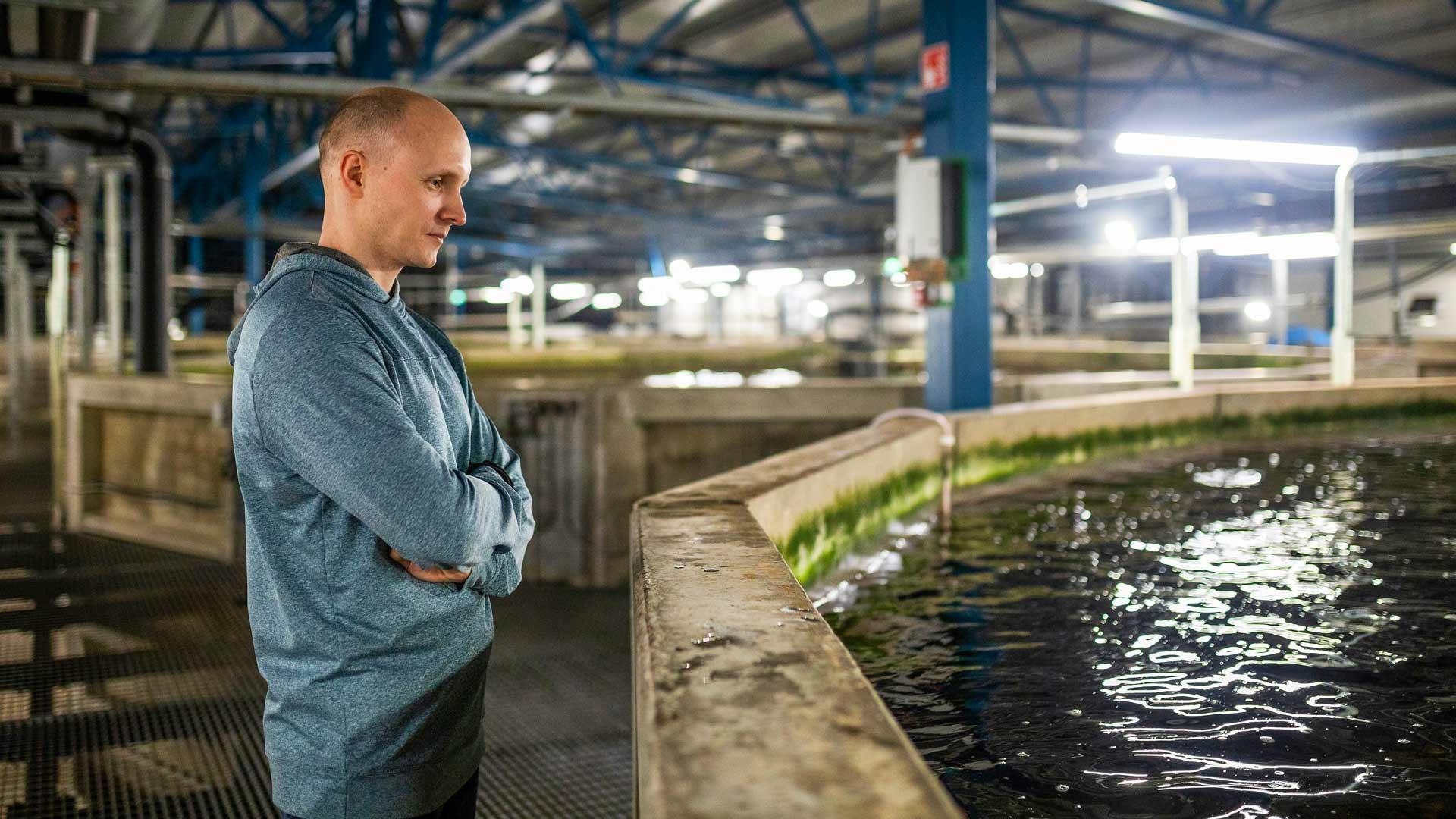 Puoliltapäivin kasvattamossa on hiljaista, sillä päivän kirjolohet on jo siirretty jalostamoon. Kuvassa laitosmestari Aleksei Khoduev.