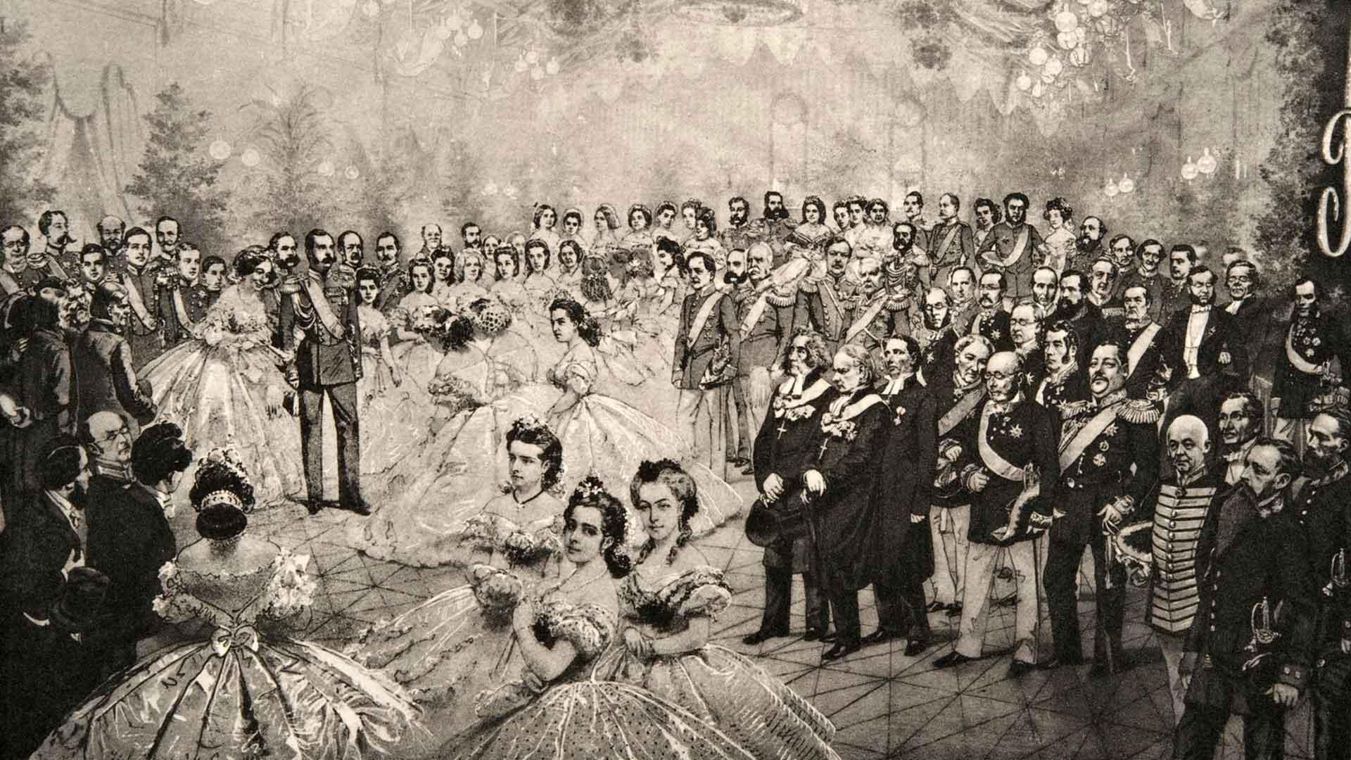 Kun Aleksanteri II oli vuosikymmenten odotuksen jälkeen avannut Suomen valtiopäivät, Helsingin asemarakennuksessa järjestettiin tanssiaiset. Niissä Marie Linder järkytti maan eliittiä pyytämällä keisarilta uskonnonvapautta Venäjälle. Hän olisi halunnut kääntyä ortodoksista luterilaiseksi, mutta laki ei sallinut sitä. Marie Linder on kuvan etualan naisista oikeanpuolimmaisin, hänen tätinsä Aurora Karamzin on piirretty taustalle. Toivomus toteutui vasta vuosikymmenten päästä.