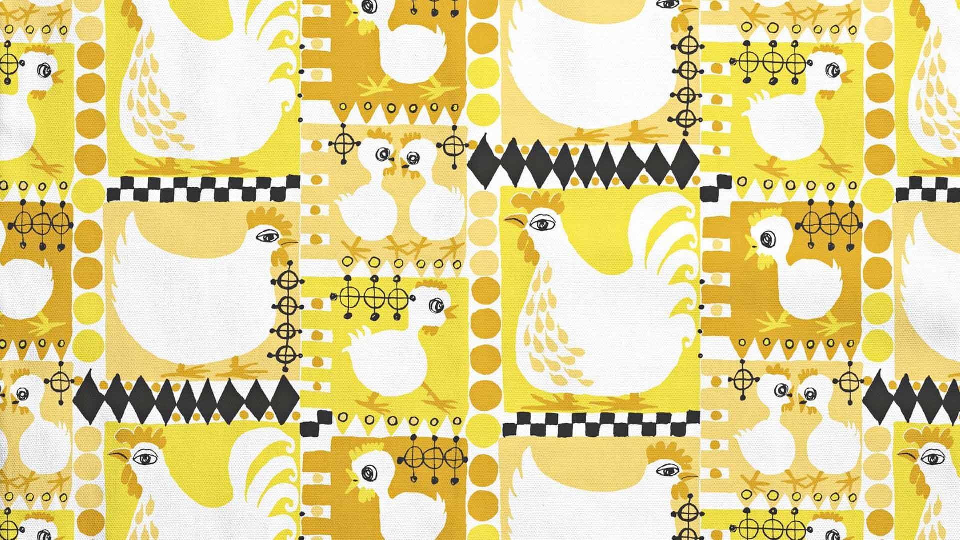 Klaara-kangasta (alkuperäinen on vuodelta 1955) painettiin 2000-luvulla keltaisena.