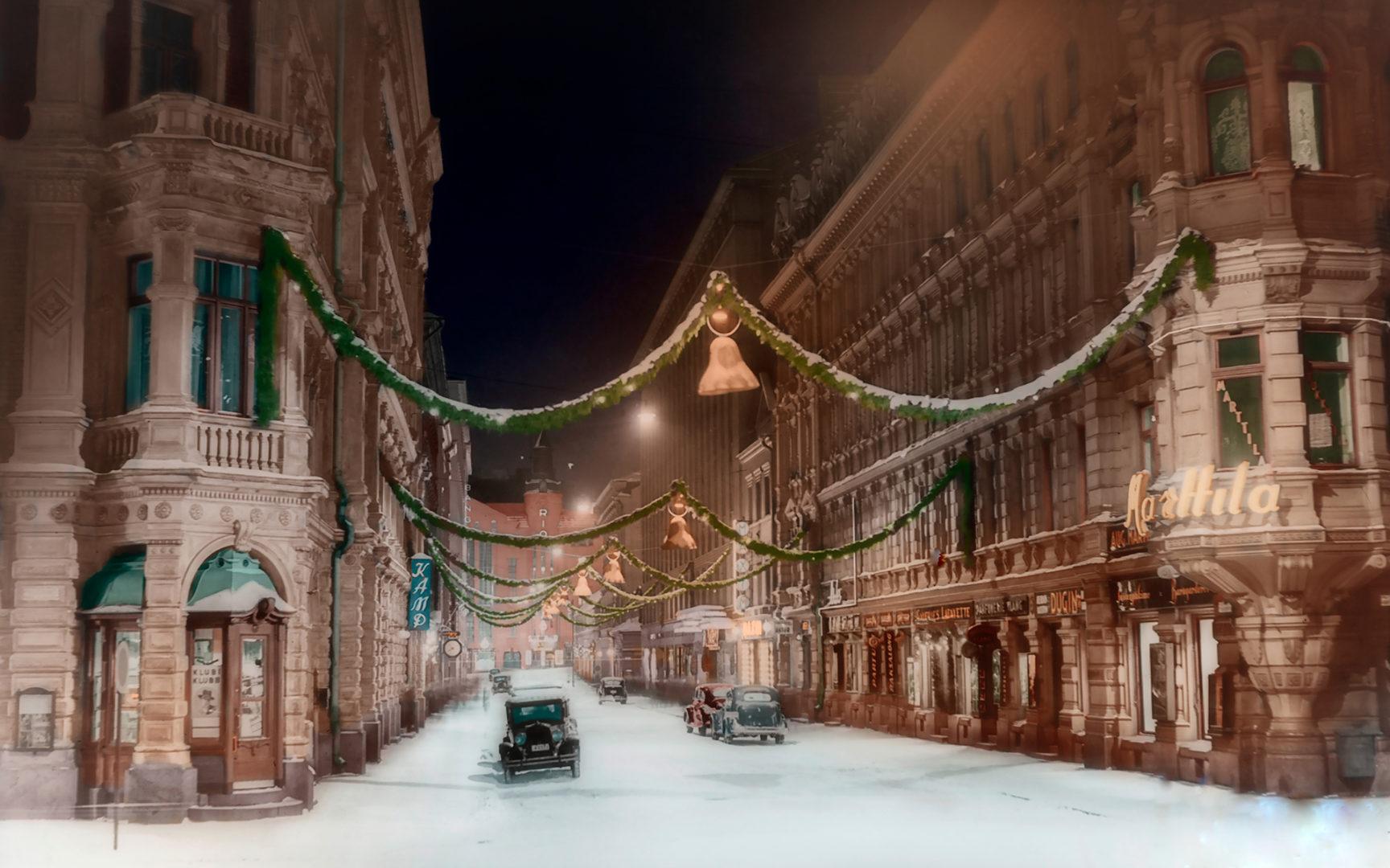 Kluuvikatu jouluna 1937