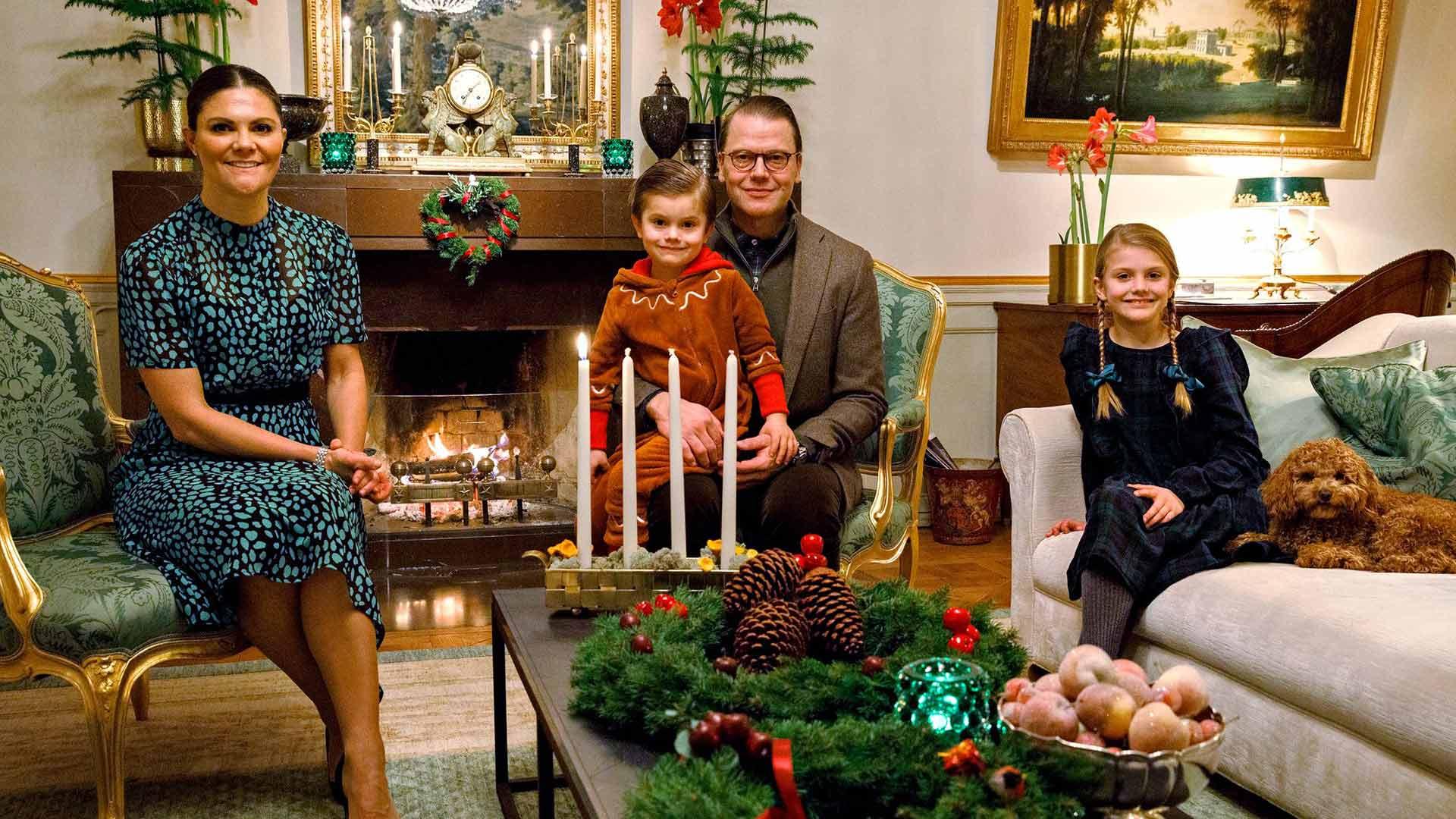 Kruununprinsessa Victoria, prinssi Daniel, prinssi Oscar ja prinsessa Estelle koristelivat kotinsa Hagan linnan joulukuntoon.
