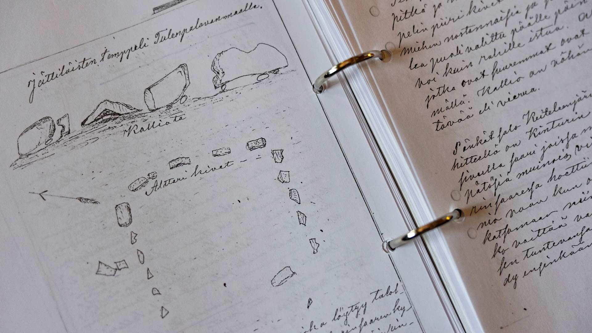 Yhtenä lähteenä Anssi käyttää Henrik Laitisen muistiinpanoja vuodelta 1877. Luonnos jättiläisten temppelistä.