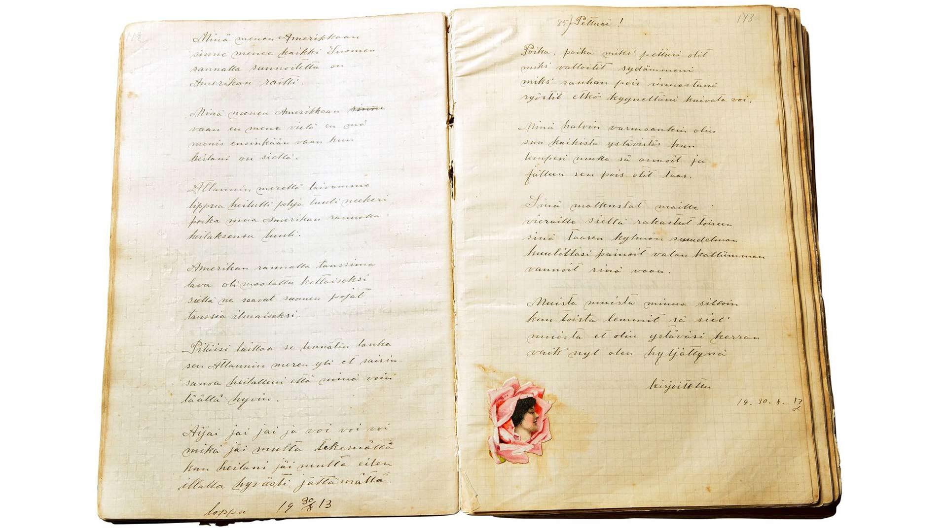 Runojen lisäksi Lydia Rantasen runokirjoissa on 1900-luvun alun kuvitusta.