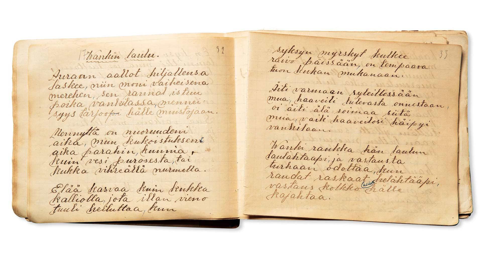 Lydia Rantanen kirjoitti kirjaansa myös herkän ja surullisen wankin eli vangin laulun.