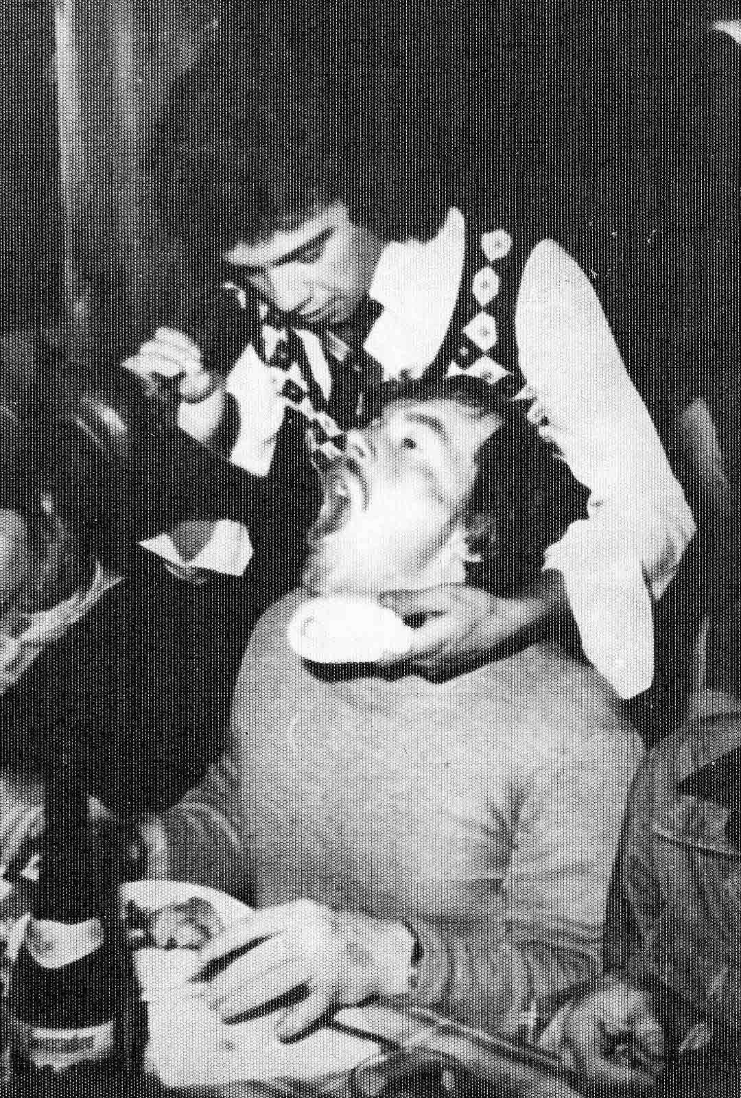 Aimo Leikas juhli mielellään esitysten jälkeen. Tässä tarjoilija kaataa viiniä suoraan Leikkaan suuhun Kanarialle suuntautuneella työmatkalla.