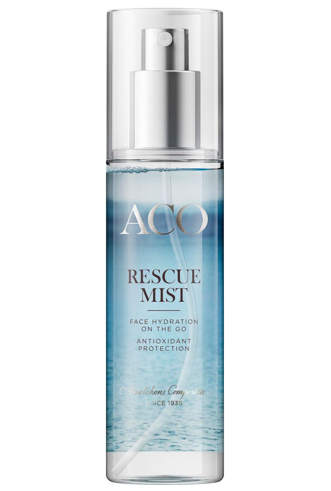 Hienojakoinen suihke rauhoittaa ärtyneen ihon. ACO Rescue Mist - kasvosuihke, 13€/75 ml.