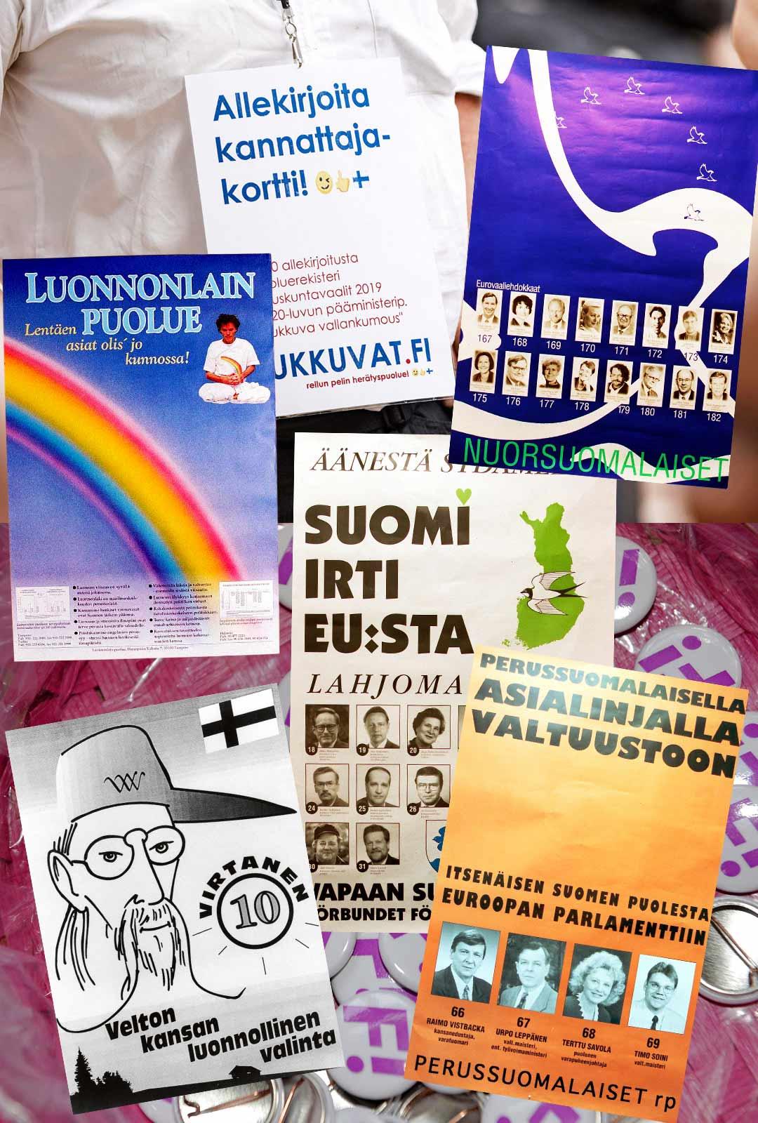 Nämä meillä on jo nähty: joogalentäjät, nusut, nukkuvat, EU-vastustajat, yksittäiset julkkispuolueet ja lähes tyhjästä aloittanut Suomen Maaseudun puolueen perillinen, Perussuomalaiset.