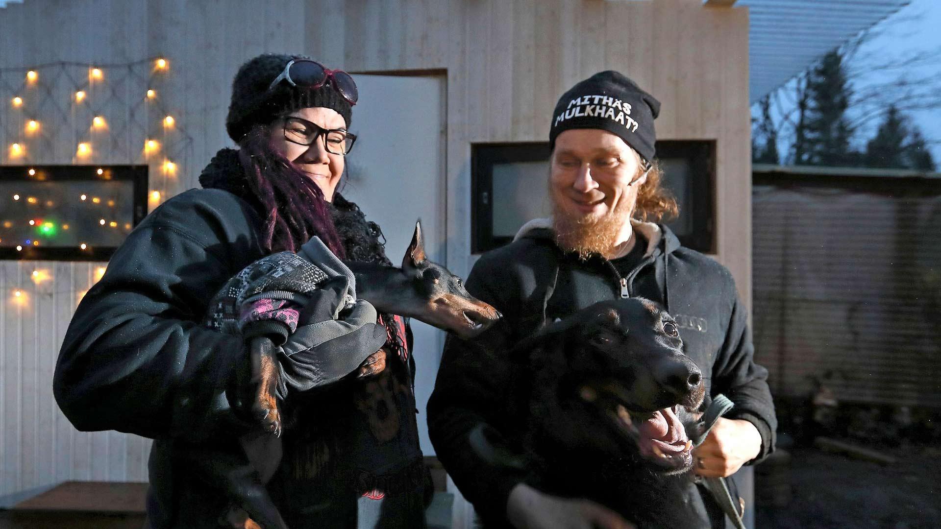 Katja ja Teppo pitävät erityisesti suurista ranskalaisista beauceronpaimenkoirista, mutta pariskunnan kotona vilistää myös pienempiä koiria ja kissoja.