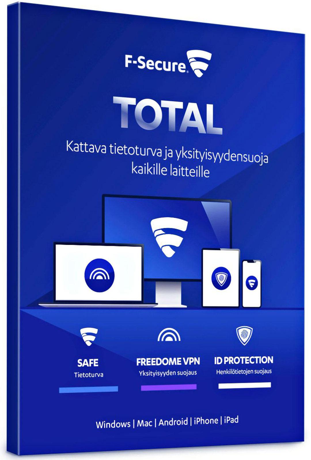 Suomalainen F-Secure Total maksaa 80 e kolmelle laitteelle.