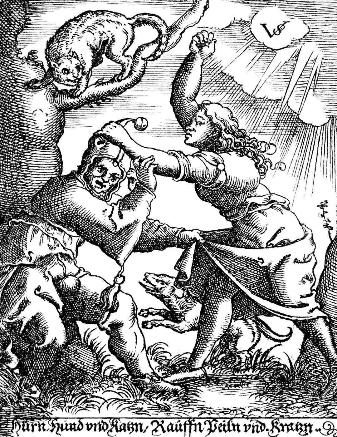 Naisen väkivallan kohteeksi joutunutta miestä on pidetty kautta historian naurettavana. 1500-luvun piirroskuva irvailee miehen uhrikokemuksella.