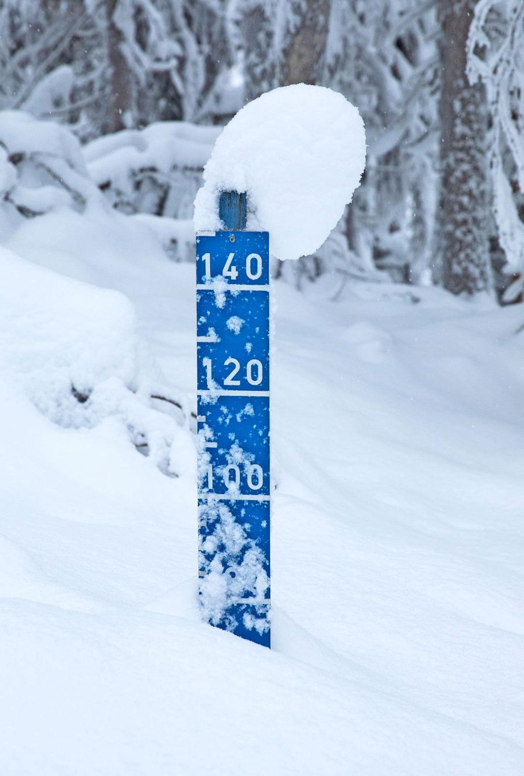 Tältä Kolin lumitilanne näytti tammikuun lopussa. Lumikengillä kulkeminen sujuu runsaillakin lumilla.