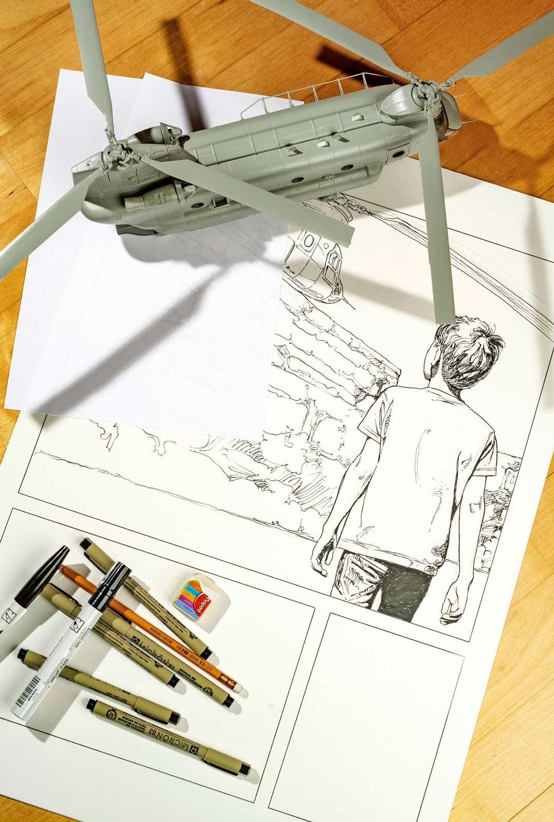 Hannu Leimu päätyi kokeilemaan sarjakuva-albumin piirtämistä, kun tie taidemaalarina tuntui nousseen pystyyn. Ensimmäinen albumi on juuri ilmestynyt, ja toinen on jo tekeillä.