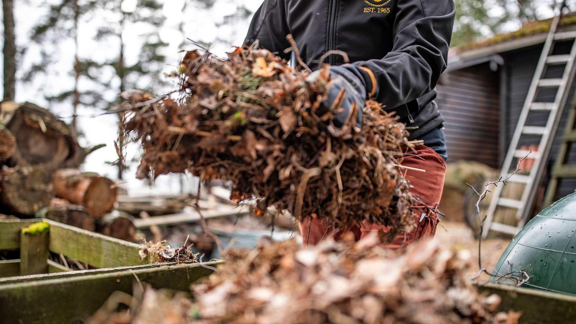 Ylivuotiset lehdet ja neulaset päätyvät mökin pihamaalta kompostiin.
