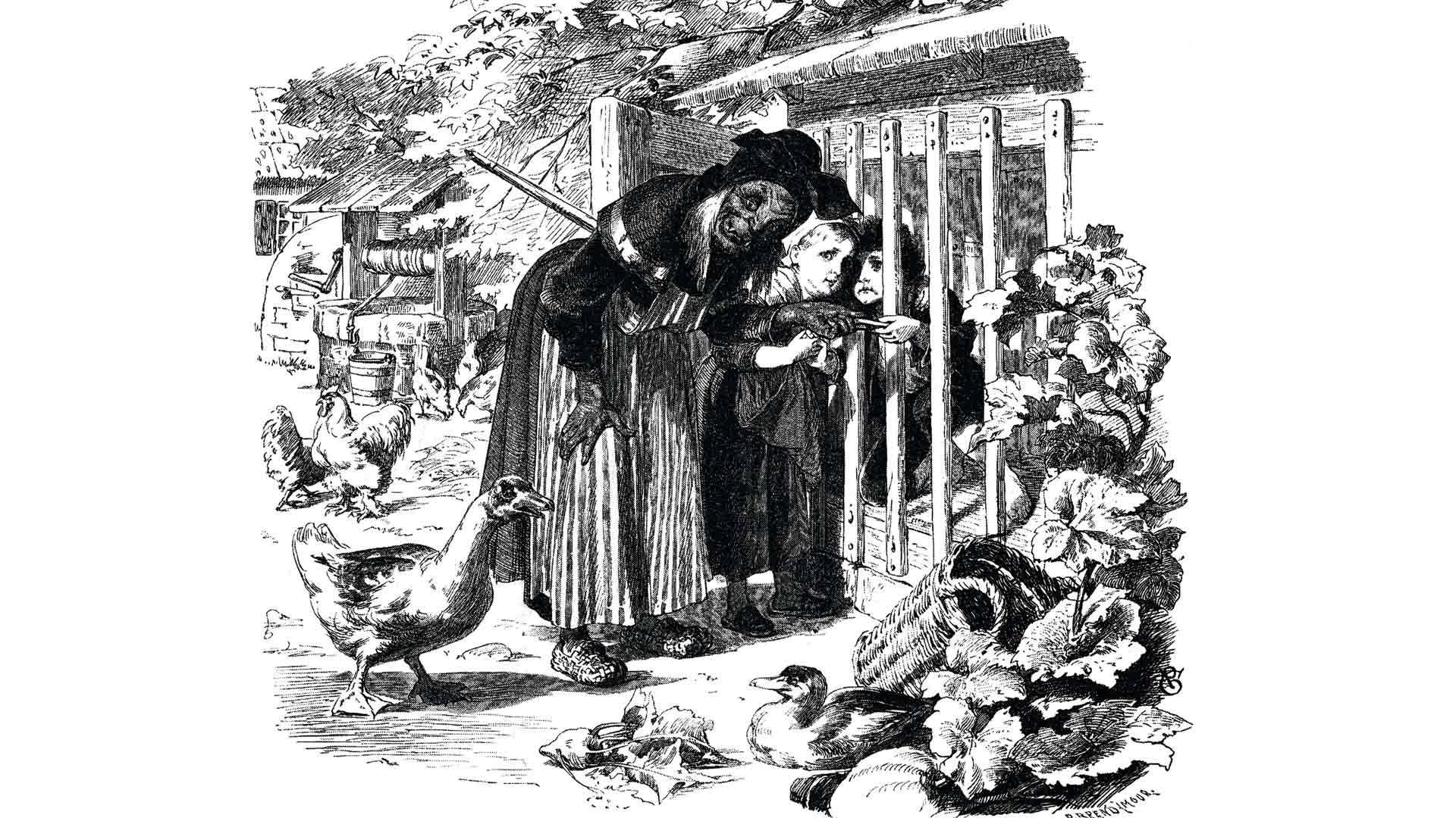 Noita pani Hannun häkkiin, minne Kertun piti kantaa ruokaa lihottaakseen veljeään noidan ateriaksi. Neuvokas tyttö tyrkkäsi noidan uuniin ja tappoi tämän paistamalla.