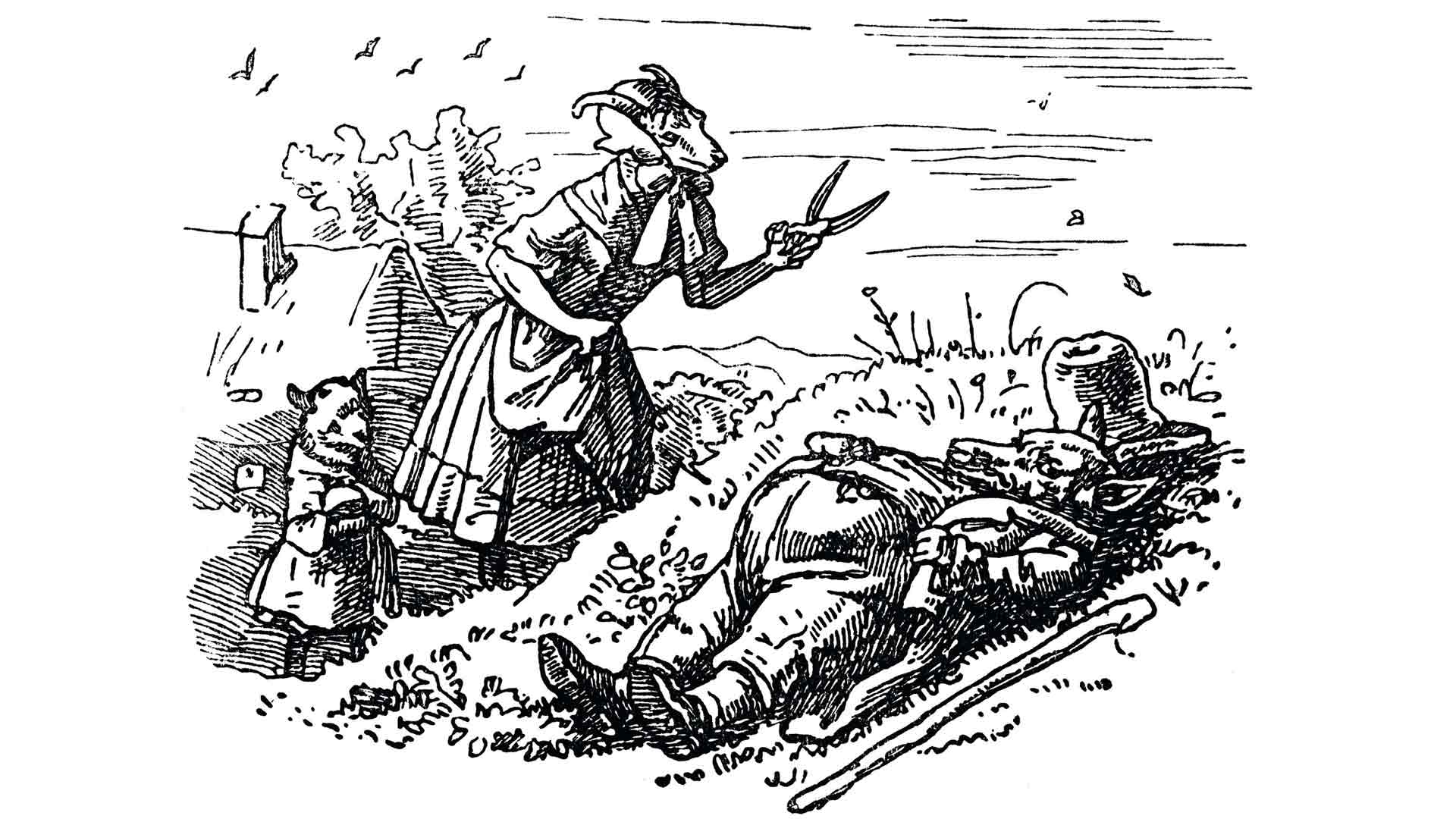 Grimmin veljesten tarinassa paha susi naamioituu vuohiäidiksi ja syö seitsemästä kilistä kuusi. Vuohiäiti ja ainoa henkiin jäänyt kili ratkovat suden auki, täyttävät sen vatsan kivillä ja elikko hukkuu jokeen.