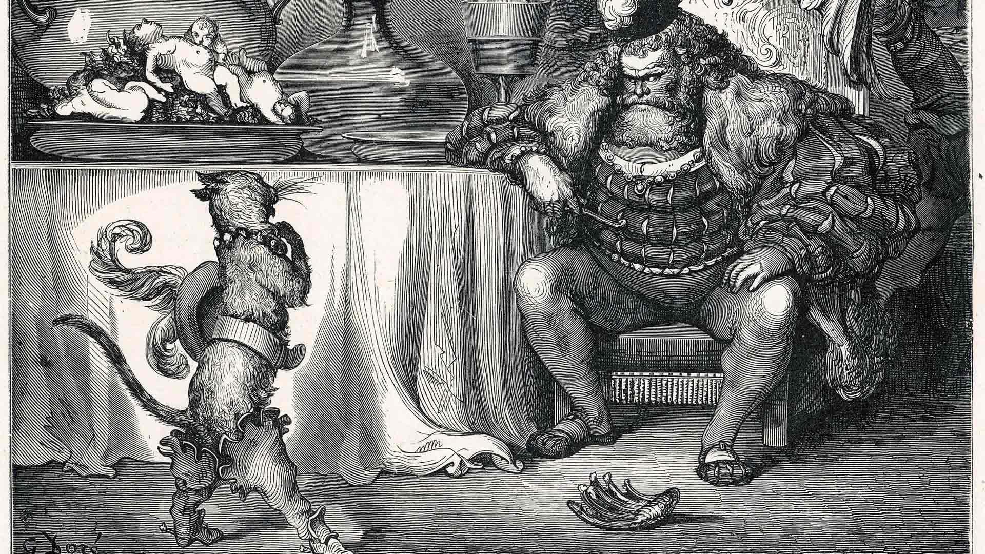 Italian ja Ranskan keskiaikaisista kansantaruista tuttu Saapasjalkakissa haastaa hirviön, jonka ruokapöydällä on tapettuja vauvoja ja eläimiä.