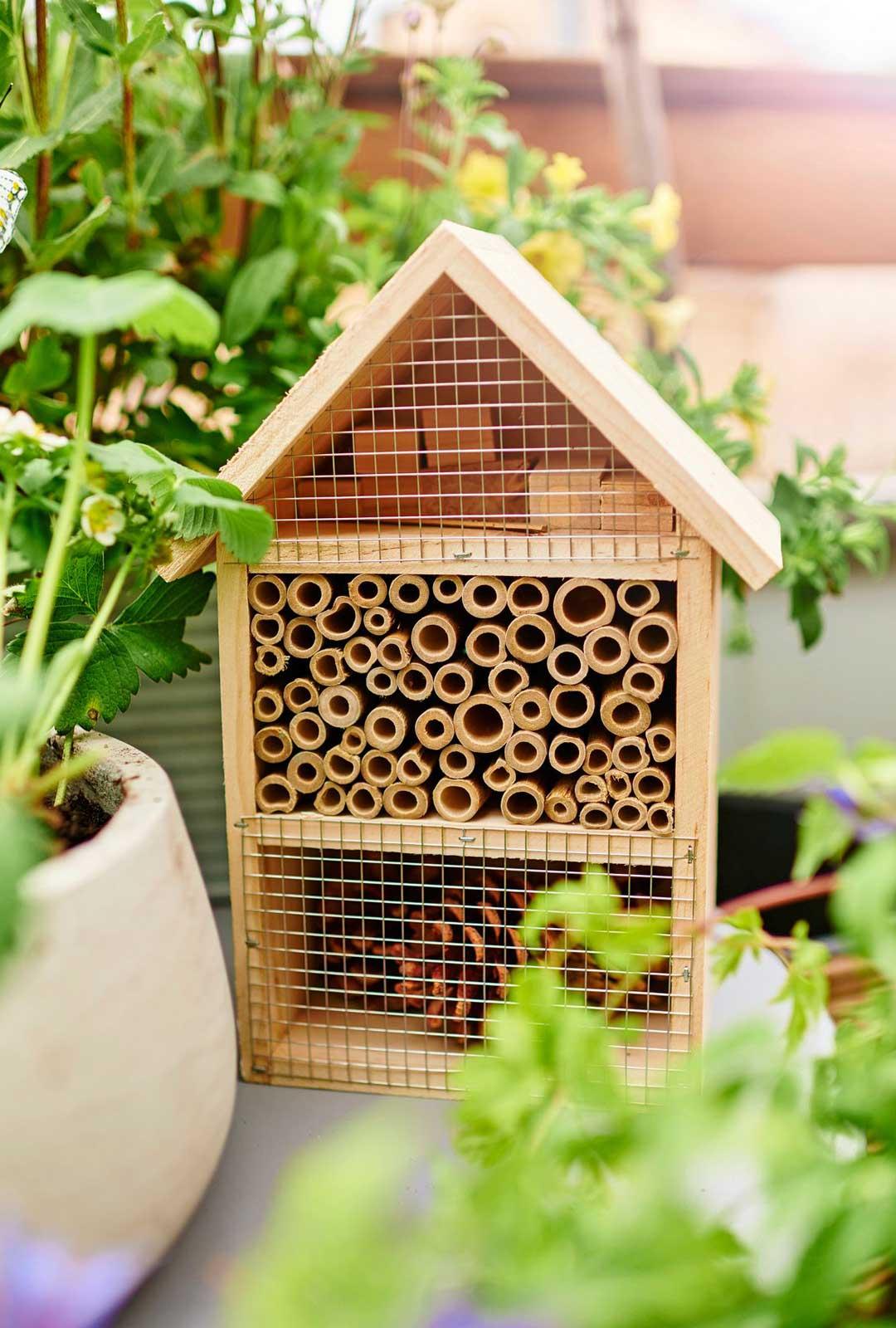 Luonnon moninaisuudesta ja sen säilyttämisen tärkeydestä puhutaan nyt paljon. Pölyttäjät ovat tärkeä osa sitä. Anna siis koti hyönteisille. Hyönteishotelli alk. 10,50 e, Plantagen.
