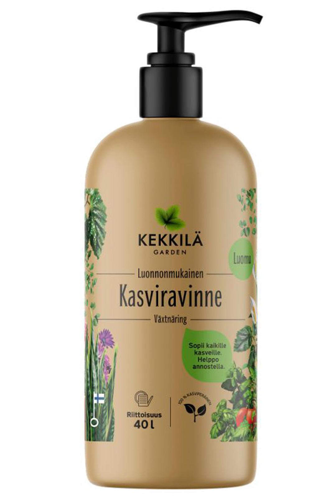 Luonnonmukainen ja täysin kasviperäinen Kekkilän kasviravinne sopii kaikille kasveille. Helppo annostella pumppupullosta kasteluveteen. 400 ml 14,95 e.