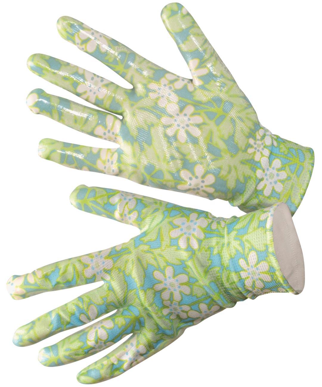 Mukavissa puutarhakäsineissä kelpaa puuhastella. Gunnel Ginsburgin suunnittelema retrokuvioinen, saumaton polyesterineulos läpikuultavalla nitriilipinnoitteella noin 5 e, Nelson Garden. Värinä myös rosa.
